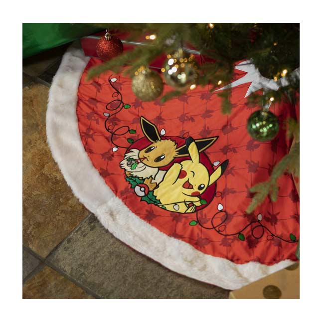 Image for Pikachu & Eevee Pokémon Holiday Tree Skirt from Pokemon Center
